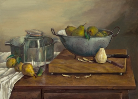 Still Life with Pears by William McCullough, realistic oil on canvas, 2007
