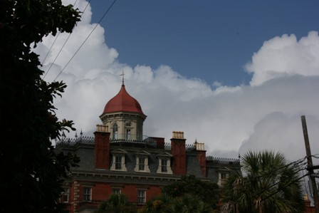 Currie McCullough Photography great clouds above the Wentworth Masion Charleston Sc