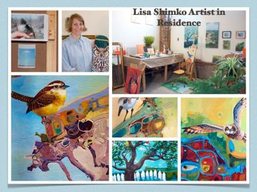 Lisa Shimko painting and studio, St Phillips St, Charleston Sc