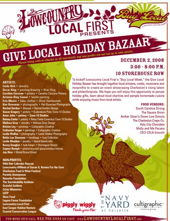 Lowcountry Local First Holiday Bazaar Dec 2nd 3-8pm @ Storehouse Row
