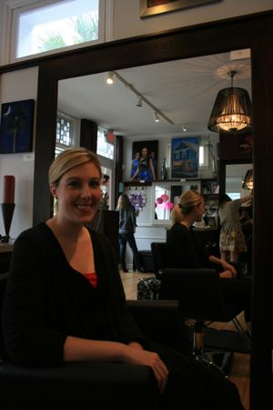 Meghan Sutton smiles at Velvet Salon