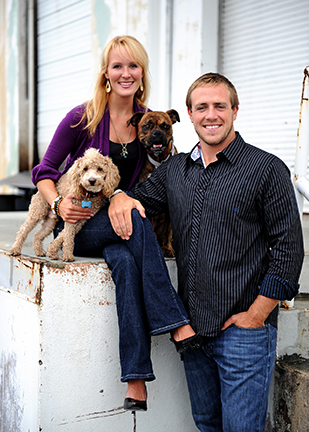 Photographer Carmen and husband Caleb and their two dogs