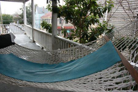 Pawley's island rope hammock doubles as yoga mat drying rack