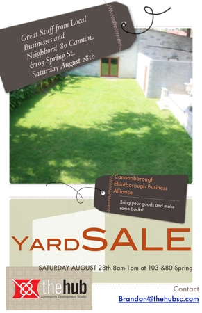 Yard Sale in Downtown Charleston August 28th at 103 Spring St