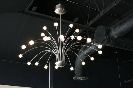 Erica chose this retro light fixture for the new restaurant Graze
