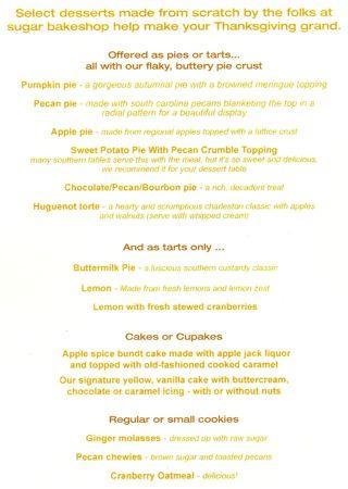 Sugar Thanksgiving bakery menu Charleston Sc downtown Elliotborough