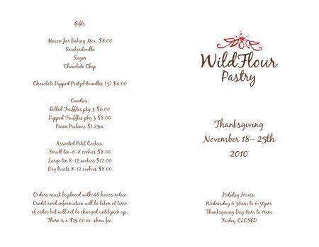 Wildflour Pastry Thanksgiving menu downtown charleston bakery Elliotborough