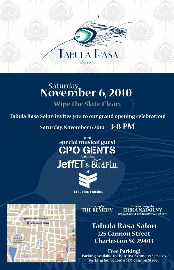Tabula Rasa Salon Grand Opening 125 Cannon St downtown Charleston Sc Cannonborough neighborhood