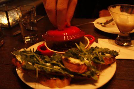 Mushroom Tapenade on Arugula Toasts at Barsa in downtown Charleston Sc